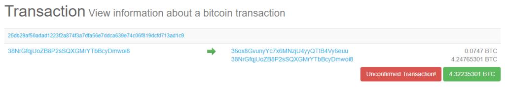 Transacción Bitcoin en Explorador (0 confirmaciones)